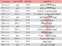 قیمت خودرو تویوتا در بازار تهران+جدول