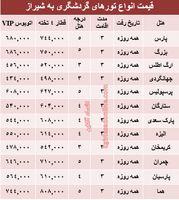 مظنه سفر زمینی به شیراز؟ +جدول