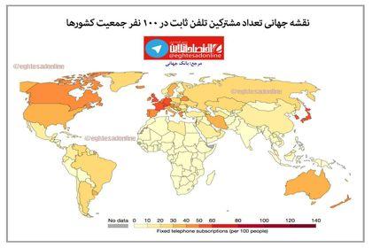 نقشه جهانی تعداد مشترکین تلفن ثابت +اینفوگرافیک