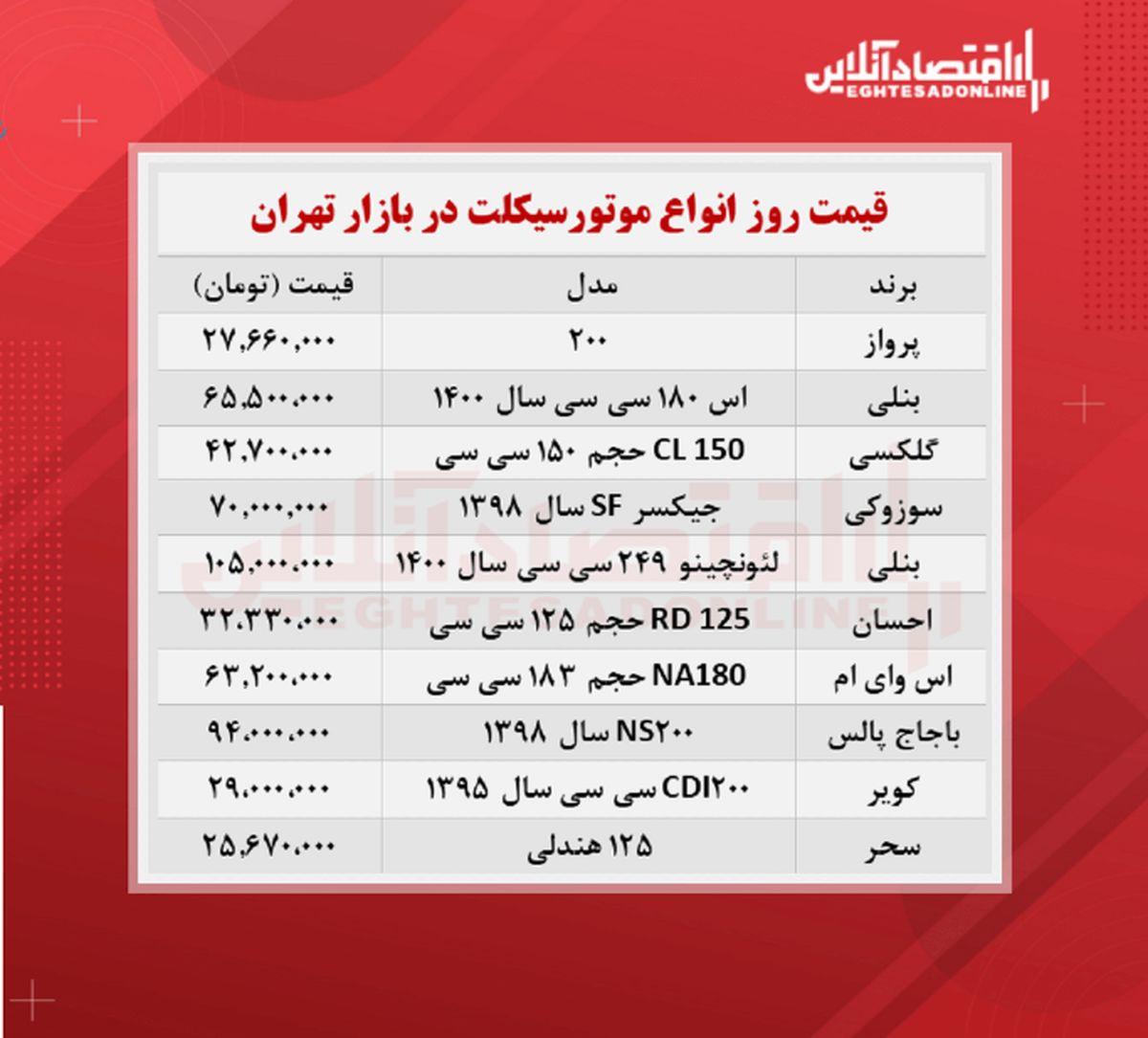 قیمت جدید موتورسیکلت + جدول