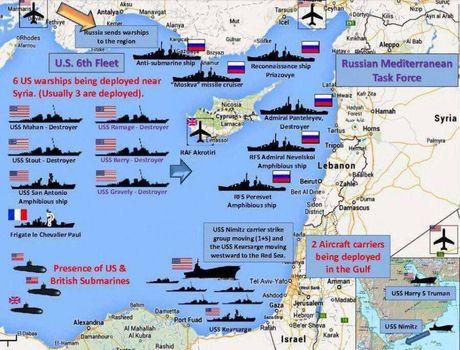 آرایش نظامی غربیها در مدیترانه و مرزهای سوریه +اینفوگرافیک