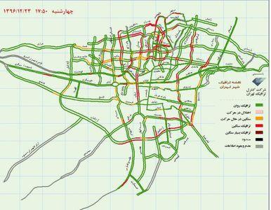 وضعیت ترافیک هم اکنون تهران +نقشه