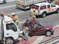 نصف شدن پراید در تصادف با کامیون +عکس