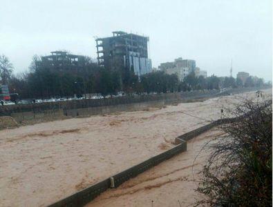 خروشان شدن رودخانه خشک شیراز در روزهای اخیر +عکس
