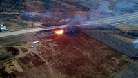 خروج قطار حامل سوخت از خط در کانادا باعث انفجار شد