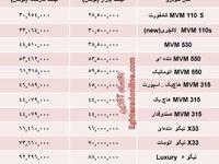 قیمت جدید محصولات مدیران خودرو +جدول