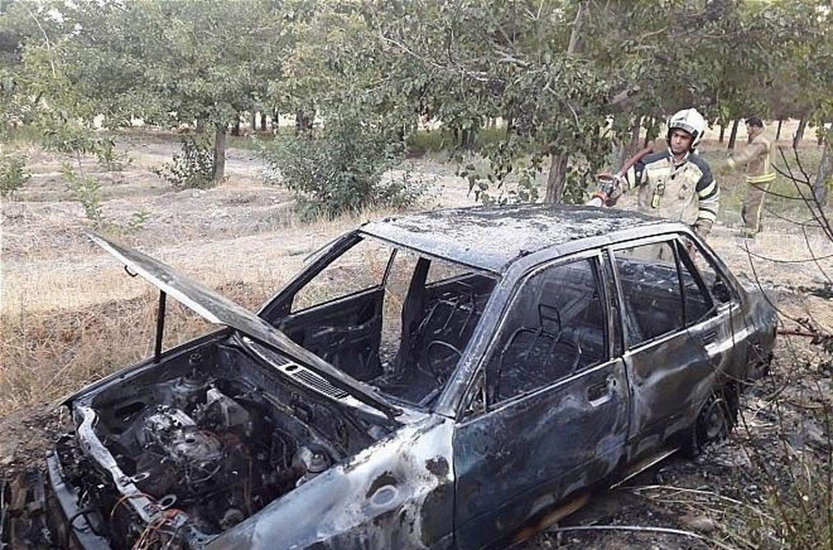 راننده پراید در آتش سوخت