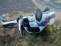 راننده خواب پراید، ماشین پلیس راه را چپ کرد