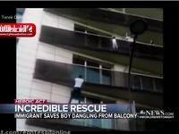 مرد عنکبوتی کودک آویزان از بالکن را نجات داد +فیلم