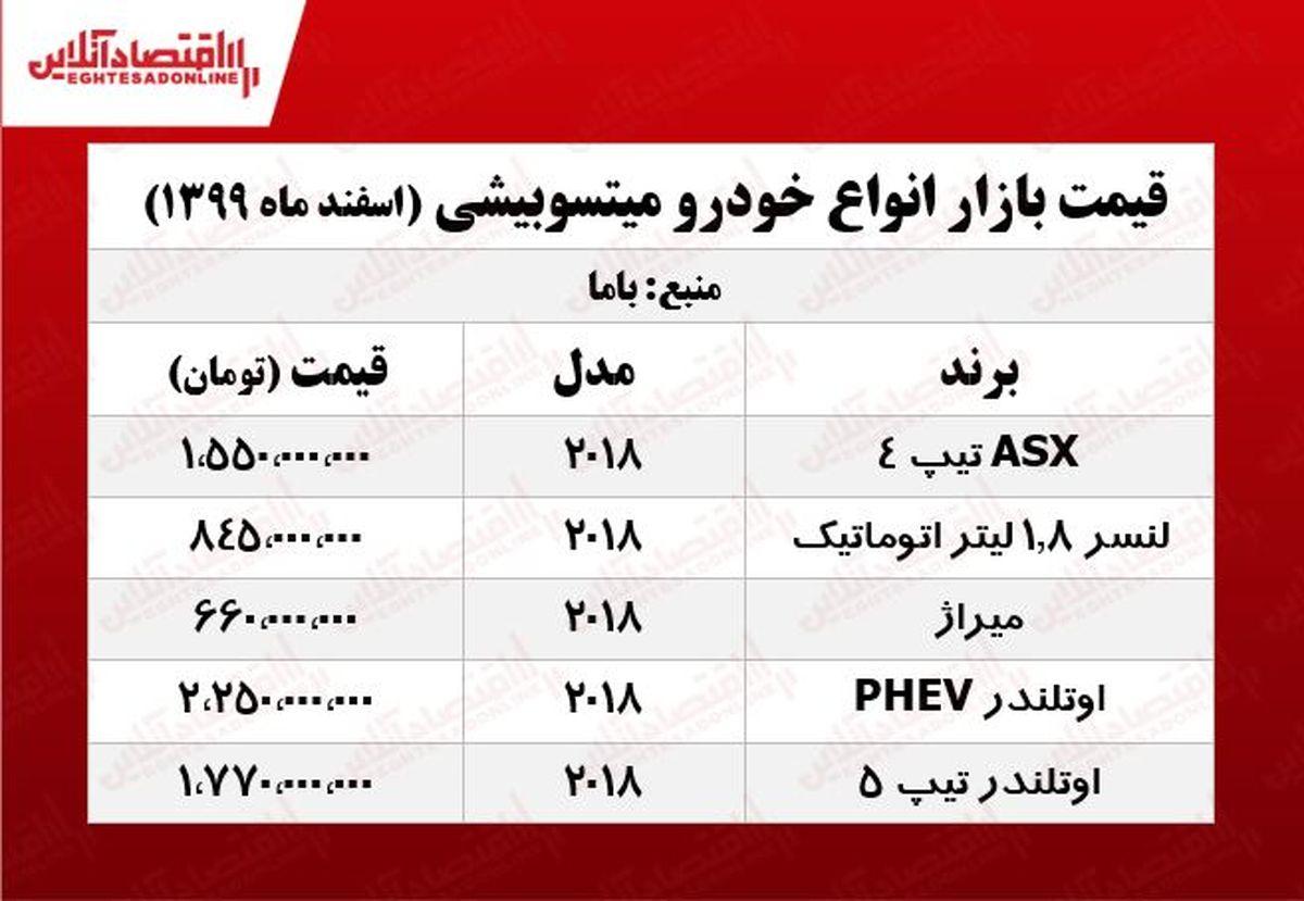 قیمت خودرو میتسوبیشی در تهران +جدول