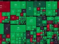 نقشه بورس امروز بر اساس ارزش معاملات/ خیز بازار به سمت تعادل در اولین روز هفته