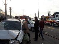 تصادف زنجیرهای یک مینیبوس و ۳پراید در خاوران +عکس