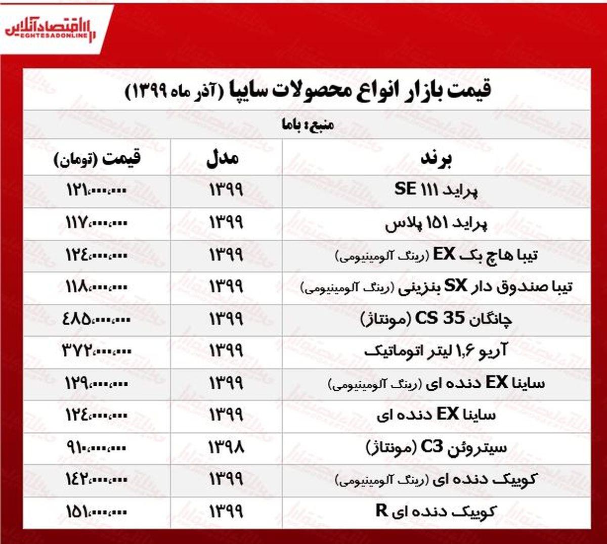 قیمت جدید خودروهای سایپا +جدول