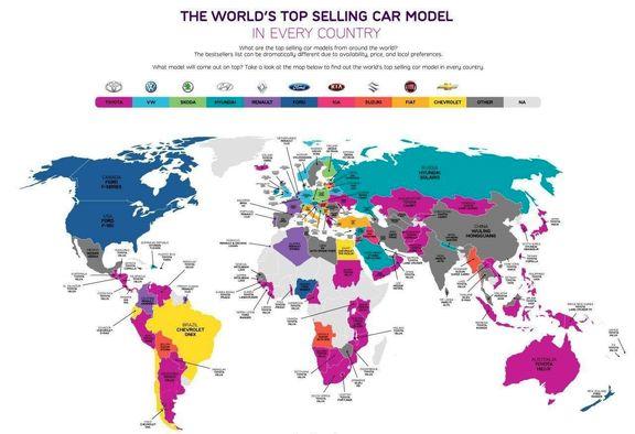 پرفروشترین خودروها، در کشورهای مختلف